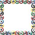 Bingo balls square frame, vector illustration Royalty Free Stock Photo