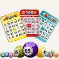 Bingo cards and set of bingo balls on white background