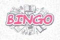 Bingo - Doodle Magenta Inscription. Business Concept.