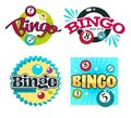 Bingo game logo set with numbered colourful balls and text Royalty Free Stock Photo