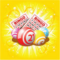 Bingo or lottery balls and cards Stock Images