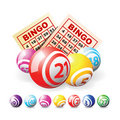 Bingo or lottery balls and cards Royalty Free Stock Photo