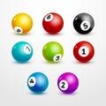 Bingo lottery balls set numbers background. Lottery game balls.