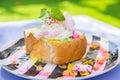 Bingsu dessert, Summer season sweeten Asian lifestyle menu eat cooling sweet iced with delight delicious fruit topping Royalty Free Stock Photo