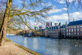 Binnenhof lake den haag in front of binnen hof Stock Photo