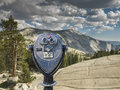 Binocular viewer at Olmsted Point, Yosemite National Park, Royalty Free Stock Photo