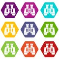 Binoculars icon set color hexahedron Royalty Free Stock Photo