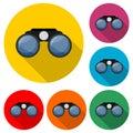Binoculars logo, Binocular icon, color set with long shadow Royalty Free Stock Photo