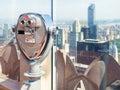 Binoculars looking at the New York skyline Royalty Free Stock Photo