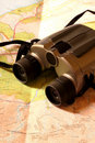 Binoculars on map Royalty Free Stock Photos