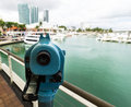Binoculars on miami skyline observation bayside harbor Royalty Free Stock Photography