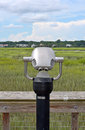 Binoculars overlooking a marsh on hilton head south carolina Stock Images