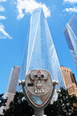 Binoculars point of view in front of One World Trade Center, Manhattan New York City Royalty Free Stock Photo