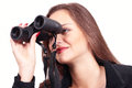 Binoculars woman with looking with interested expression Stock Images
