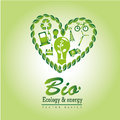 Bio ecology and energy over green background vector illustration Stock Photos