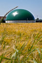 Bio gas plant in a corn field Royalty Free Stock Photo