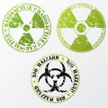 Bio hazard and radioactive stamp set Royalty Free Stock Images