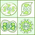 Bio label set with green leaf motif and inscription bio. Diffferent shapes in light green design, vector eps10, sticker useful for Royalty Free Stock Photo