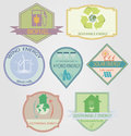 Bio labels set of relating to ecology theme including wind power geothermal renewable solar hydro energy Stock Photography