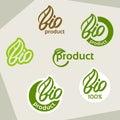 Bio logo, eco label, natural product sign, organic icon set Royalty Free Stock Photo