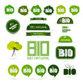 Bio natural product green labels set tags stickers Royalty Free Stock Images