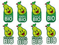 Bio Pear Seal / mark / icon Royalty Free Stock Images