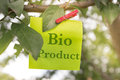 Bio product concept whit note and clipper on a tree Stock Images
