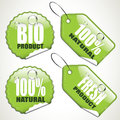 Bio stickers and tags set of four glossy Royalty Free Stock Image