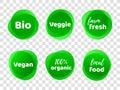 Bio veggie farm vegan 100 organic vector labels