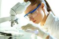 Biochemist female mixing substances to study under the microscope Royalty Free Stock Image