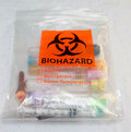 Biohazard bag plastic containing empty blood vials Royalty Free Stock Images