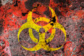 Biohazard symbol on a rust metal plate Royalty Free Stock Image