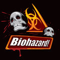 Biohazard symbol warning with skulls created in graffiti style Stock Image