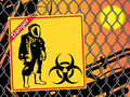 Biohazard warning on yellow sign. Royalty Free Stock Image