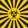 Biological hazard sign dangerous pop art style, vector sign Ionizing Biological yellow and black rays Royalty Free Stock Photo