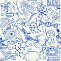 Biology doodles seamless pattern Royalty Free Stock Photo