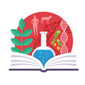 Biology emblem with a book a green plant dna and tree of evolution Stock Photos