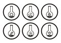 Biology icons black molecular science in test tubes Royalty Free Stock Photo