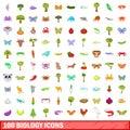 100 biology icons set, cartoon style
