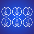 Biology icons white molecular science in test tubes Stock Images