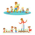 Biology lesson in kindergarten, children looking at plant seedlings. Cartoon detailed colorful Illustrations isolated on