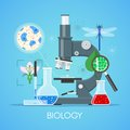 Biology science education concept vector poster in flat style design. School laboratory equipment