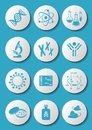 Biology science icons blue molecular on white buttons Stock Images