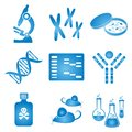 Biology science icons set of blue and white molecular Royalty Free Stock Image