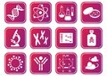 Biology science icons set of red violet molecular Stock Photography