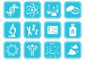 Biology science icons set of white molecular Royalty Free Stock Images