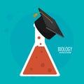Biology test tube graduation cap icon