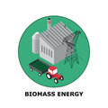 Biomass energy renewable energy sources part isometric illustration of a plant works in small size Stock Photography