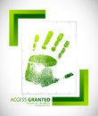 Biometric palm scanning screen with access granted Royalty Free Stock Image