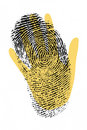 Biometric security hand with finger print Stock Photos